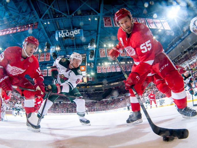 Detroit's Riley Sheahan, left, and Niklas Kronwall