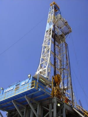 Photo of drilling equipment from Goodrich Petroleum management presentation.