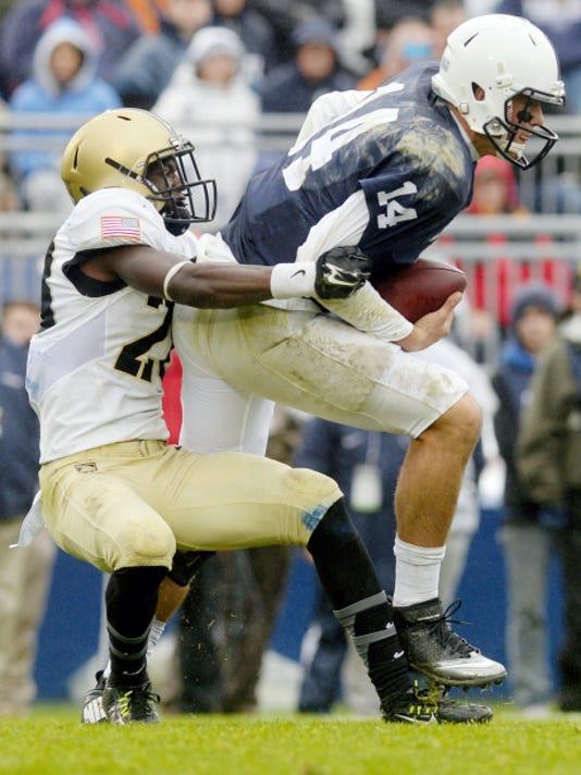 Penn State quarterback Christian Hackenberg is sacked by Army Black Knights cornerback Brandon Jackson during Saturday's game at Beaver Stadium.