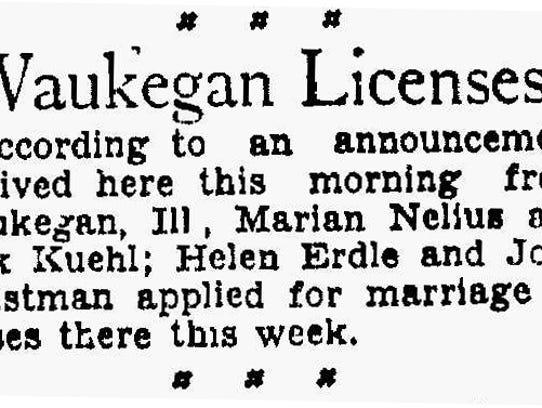 Waukegan marriage listings in the Sheboygan Press,