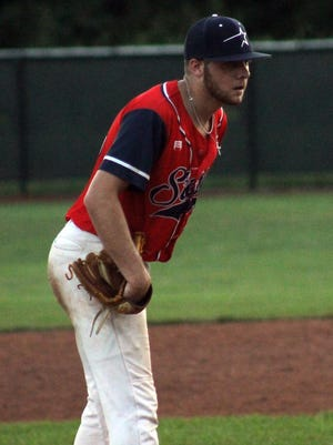 Dylan Lankford, a Lee's Summit North graduate, pitches from the stretch for the Creche Innovation Stars in the Ban Johnson League this summer. Lankford is transferring from Maryville University to Rockhurst University to pitch and play outfield.
