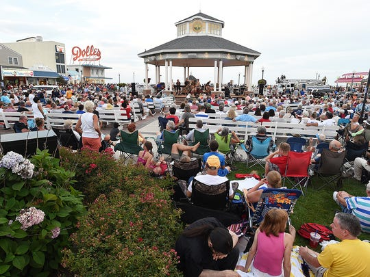 A large crowd gathered last year at Rehoboth Beach's Bandstand to watch The Funsters before and after the city's fireworks show.