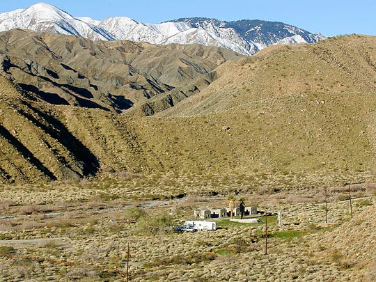 These foothills and snow-covered peaks, along with the entrance to the Mission Creek Preserve, will be included in the Sand to Snow National Monument.