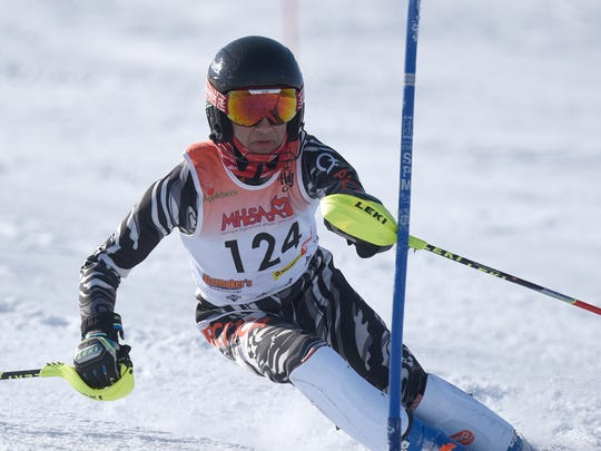 Bloomfield Hills' Dominick Shoha during second run on the slalom course at Pine Knob on Feb. 14, 2018.