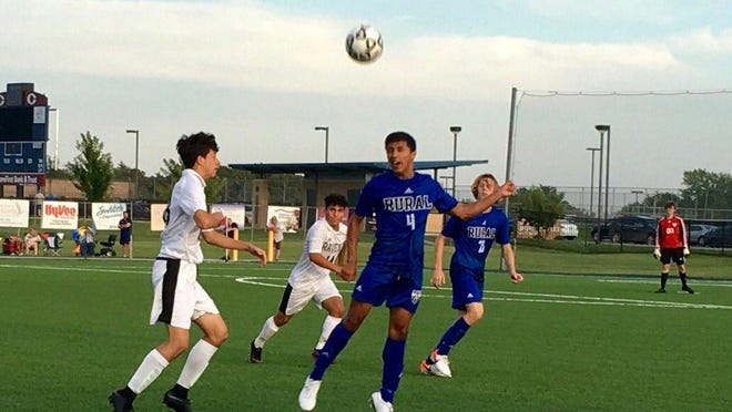 Washburn Rural senior Andre Chavez (4) is a returning All-City first-team selection for the Junior Blues boys soccer team.