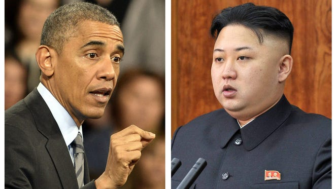 President Obama, left, shown in Las Vegas in November, and North Korean leader Kim Jong Un, shown on Jan. 1, 2013.