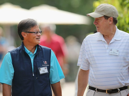 Jerry Yang, left, founded Yahoo with David Filo in