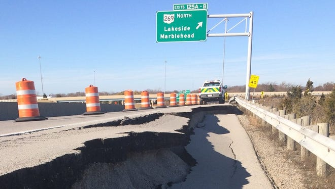 The westbound Exit 125 along Ohio 2 toward Ohio 269 in Ottawa County has been closed after a portion of the road collapsed this week.