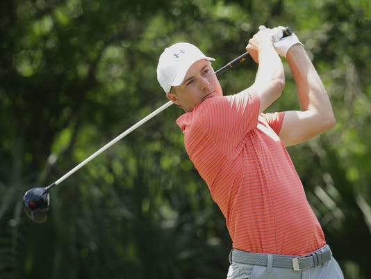 Jordan Spieth hits from the fifth tee during the second round of The Players Championship golf tournament Friday, May 13, 2016, in Ponte Vedra Beach, Fla. (AP Photo/Lynne Sladky)