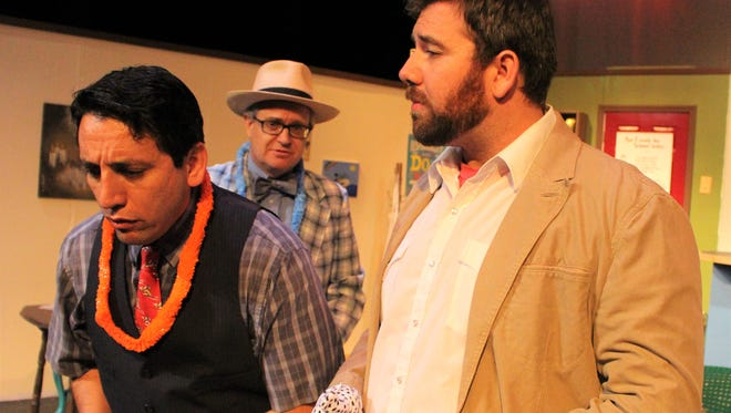 """Pedro Ramirez is Lucien (from left), Jon Mark Hogg is Arnold and Lance Turner is Jack in Angelo Civic Theatre's production of """"The Boys Next Door."""""""