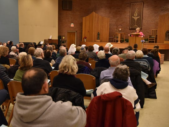 Senator Loretta  Weinberg speaks at a vigil for Sandy