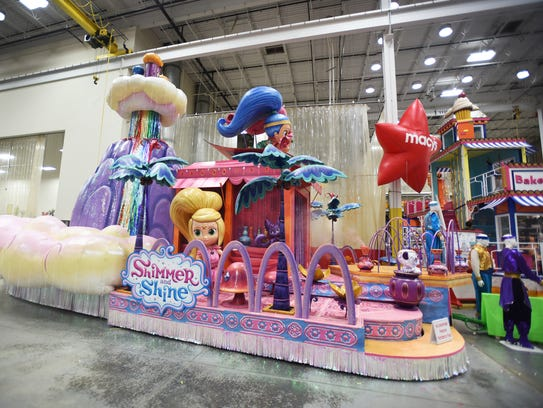 """One of five new floats, """"Shimmer and Shine"""" by Nickelodeon,"""