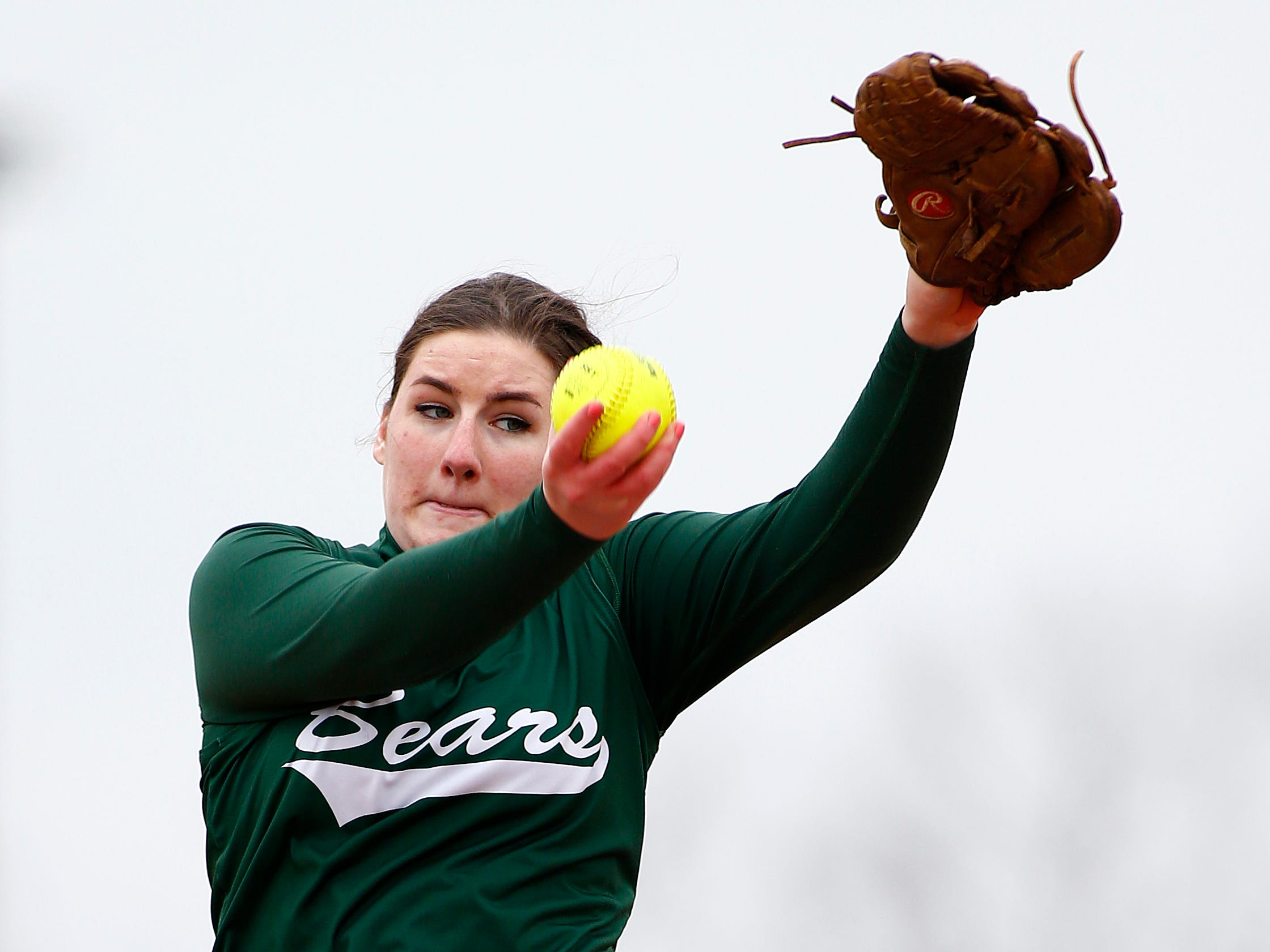 East Brunswick pitcher Kaleigh Dwyer delivers a pitch against Piscataway during a girl's softball game at Piscataway High School in Piscataway, N.J. on Friday, April 10, 2015. Photo by Rich Schultz/ HNT