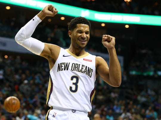 Nov 9, 2019; Charlotte, NC, USA; New Orleans Pelicans guard Josh Hart (3) reacts after getting called for a foul in the second half against the Charlotte Hornets at Spectrum Center. Mandatory Credit: Jeremy Brevard-USA TODAY Sports
