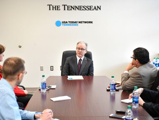 Nashville Mayor David Briley talks with the Tennessean
