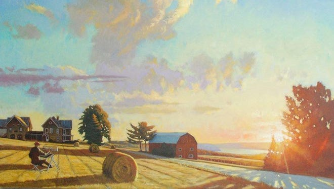 """""""Among the Bales - Keuka Sunrise"""" by Brian Keeler will be among the art on display at the West End Gallery in Corning."""