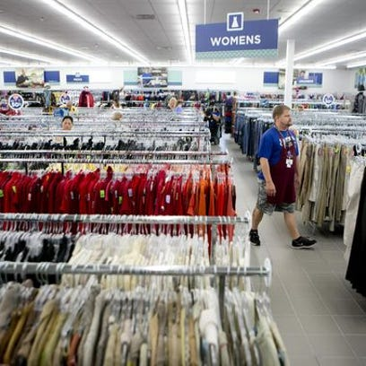 The women's clothing section at the grand opening of the new Goodwill store in Plover, Thursday, Aug. 13, 2015.