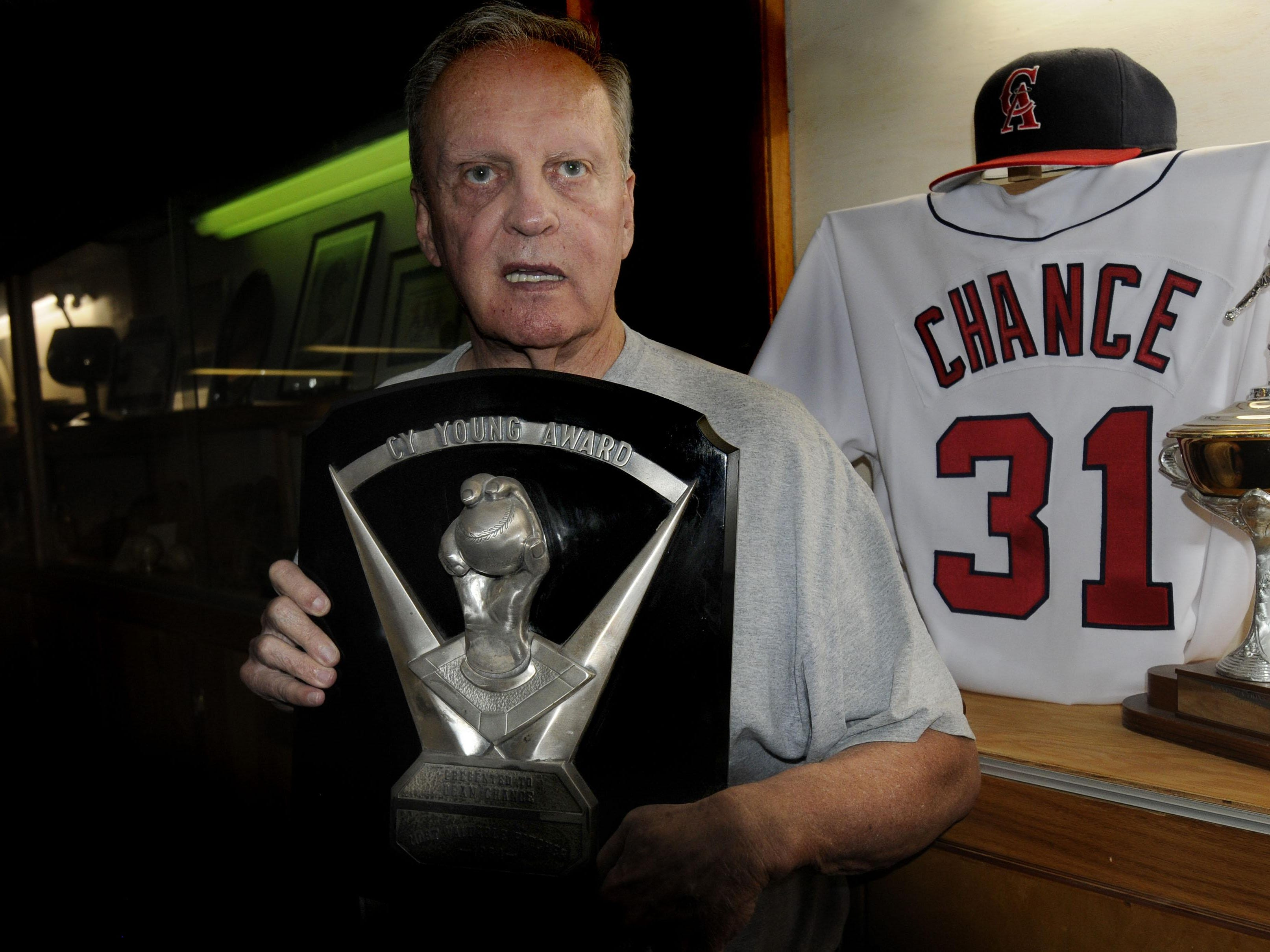 Dean Chance with the 1964 Cy Young Award he won with the Los Angeles Angels.