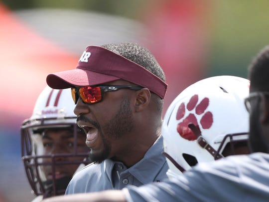 River Rouge coach Corey Parker on the sidelines during the first half of East English's 38-29 win on Saturday, Aug. 26, 2017, at Wayne State.