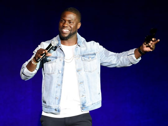 Kevin Hart, addresses the audience during the Universal Pictures presentation at CinemaCon 2016 in Las Vegas on April 13, 2016.