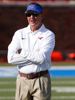 Southern Methodist Mustangs head coach Chad Morris.