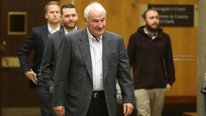 Tom Golisano heads into court for a trial regarding the cost of decorating his yacht.