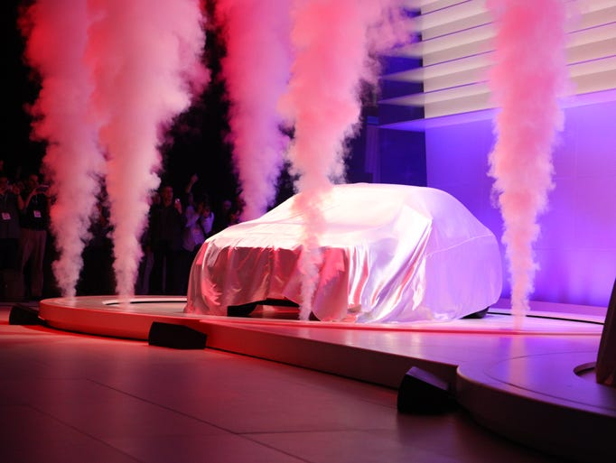 The redesigned 2015 Subaru WRX at its unveiling at the 2013 Los Angeles Auto Show.