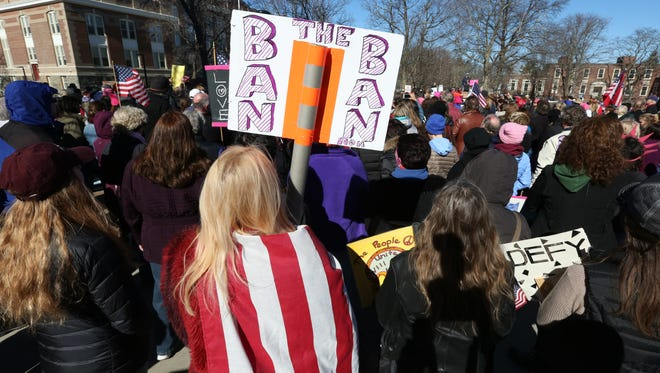 "A large crowd turned out for a ""Not My President"" rally at SUNY New Paltz Feb. 20, 2017."