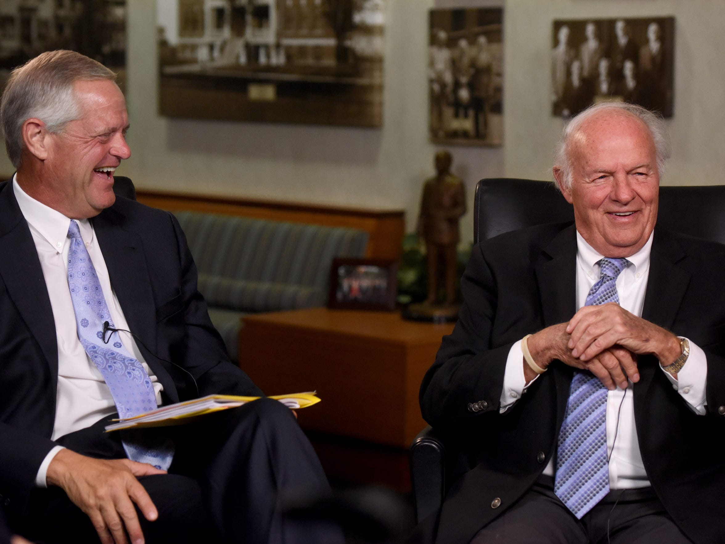 Sanford Health CEO Kelby Krabbenhoft (left) and T. Denny Sanford talk with Argus Leader Media during an exclusive interview in 2017.
