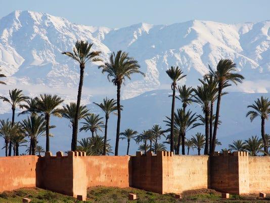 marrakech, neige palmiers ramparts...