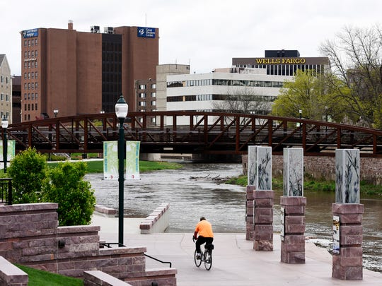 Skyline of downtown Sioux Falls including the Wells