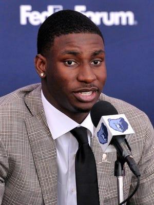 Grizzlies draft pick Jaren Jackson Jr. answers questions at FedEx Forum on June 22.