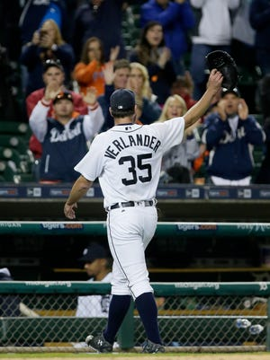 Tigers pitcher Justin Verlander acknowledges the fans after being relieved in the eighth inning after giving up four hits and striking out 12 during the Tigers' 12-0 win over the Indians Tuesday at Comerica Park.
