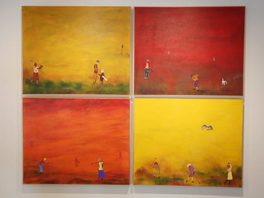 """The Game of Golf"" by James B. Thompson, professor of art at Willamette University, is featured in a retrospective art exhibit, ""Fragments in Time,"" at the Hallie Ford Museum."