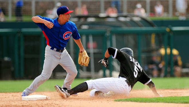 Infielder Elliot Soto, pictured during spring training, went 3-4 in the Iowa Cubs' 10-2 victory Sunday night at Oklahoma City.