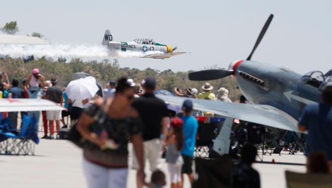Acrobatic pilots perform during the 2018 Jacqueline Cochran Airshow in Thermal on May 5, 2018.