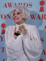 Carol Channing poses with the special Tony Award she received  for lifetime achievement during the 1995 Tony Awards at Broadway's Minskoff Theater in New York
