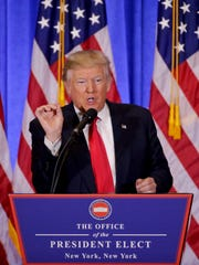 President-elect Donald Trump speaks during a news conference, Wednesday, Jan. 11, 2017, in New York. The news conference was his first as President-elect. (AP Photo/Seth Wenig)