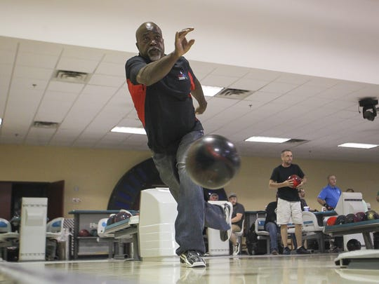 New National Bowling Hall of Fame inductee, Buster Leon practices at Capital City Lanes.