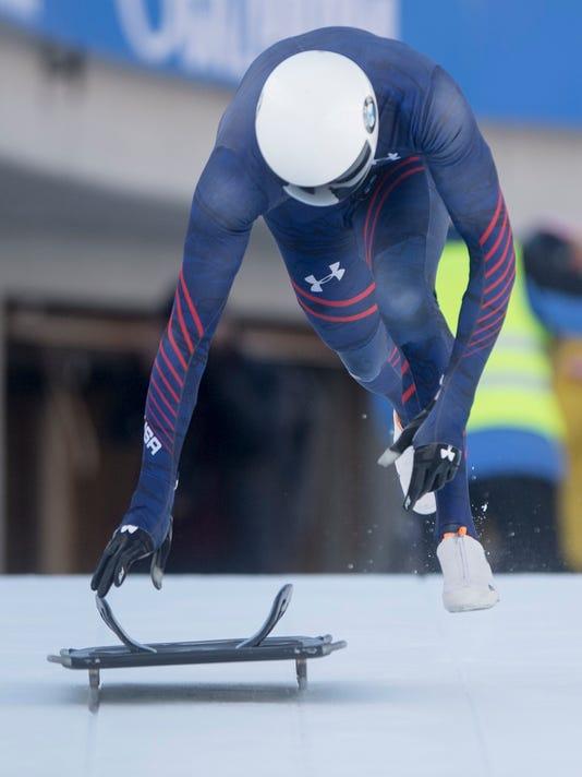 Matt Antoine from USA during a training at the Men's Skeleton World Cup in St. Moritz, Switzerland, on Thursday, Jan. 11, 2018. (Urs Flueeler/Keystone via AP)
