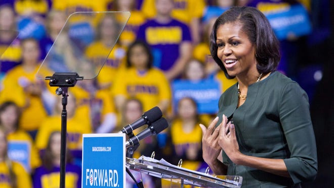 First lady Michelle Obama speaks at the University of Northern Iowa during a campaign event on Sept. 28, 2012.
