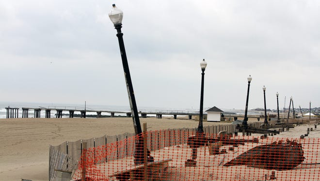 The Sandy damaged boardwalk in Ocean Grove last May. Repairs are scheduled to begin this summer.