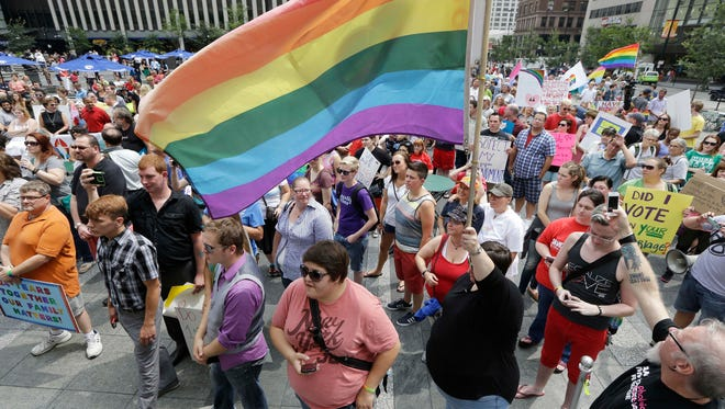 Hundreds of gay-marriage supporters rally on Fountain Square  in Cincinnati.