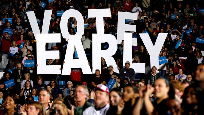 "Supporters of President Obama hold up a ""Vote Early"" sign during a rally in Youngstown, Ohio, in 2012."