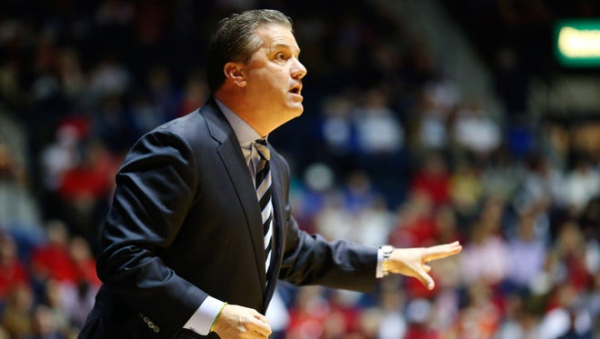 Kentucky Wildcats head coach John Calipari during the game against the Mississippi Rebels at Tad Smith Coliseum.
