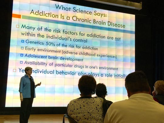 """Dr. Perilou Goddard, Department of Psychological Science professor at Northern Kentucky University, discusses the science behind addiction and what treatments work during the Northern Kentucky Forum on """"Heroin and Northern Kentucky: How Are We Responding? What More Can We Do?"""" on March 16."""