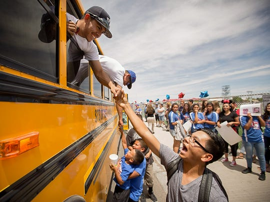 Las Cruces High School senior Timothy Galindo, left,