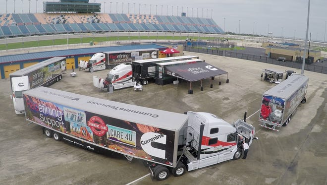 Cummins Inc. semi-trucks on display at the Chicago Speedway. The company has been working to promote trucking careers as the nation faces a severe shortage of drivers.