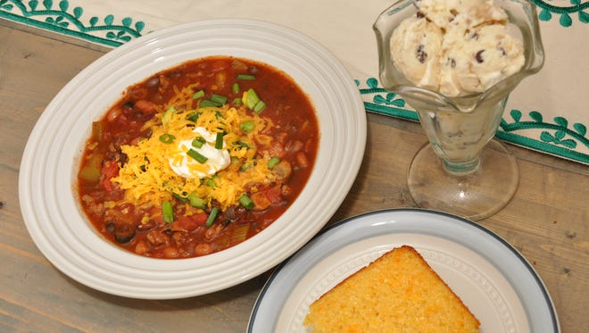 A&B Chili, Pineapple-Cheddar Cornbread and Marshmallow Chocolate Chip Cookie Dough Ice Cream are great game day fare.