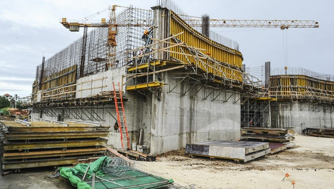 Workers continue on the construction of the Guam Museum building in Hagatna on June 3.